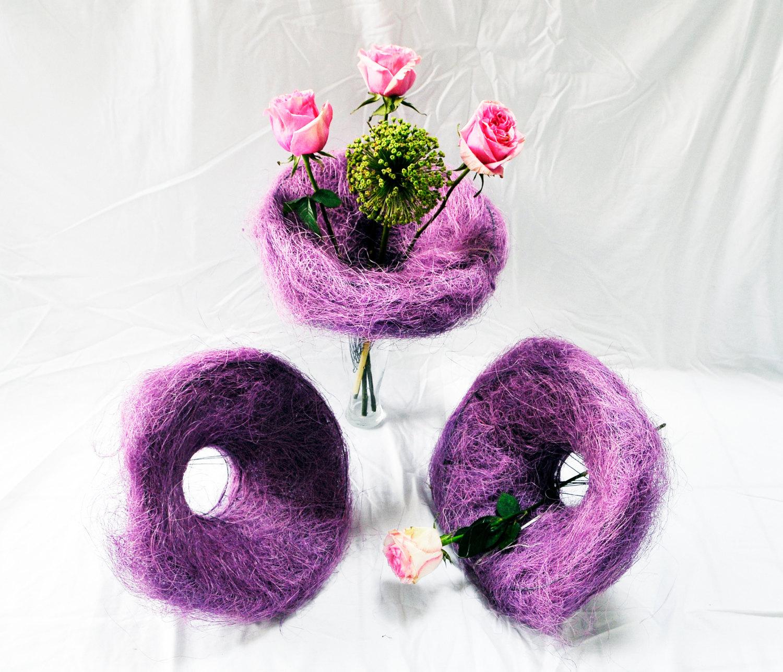 12 pcs Sisal Flowers Bouquet Holder Florist Floral 30cm PURPLE Presen Gift  Wedd