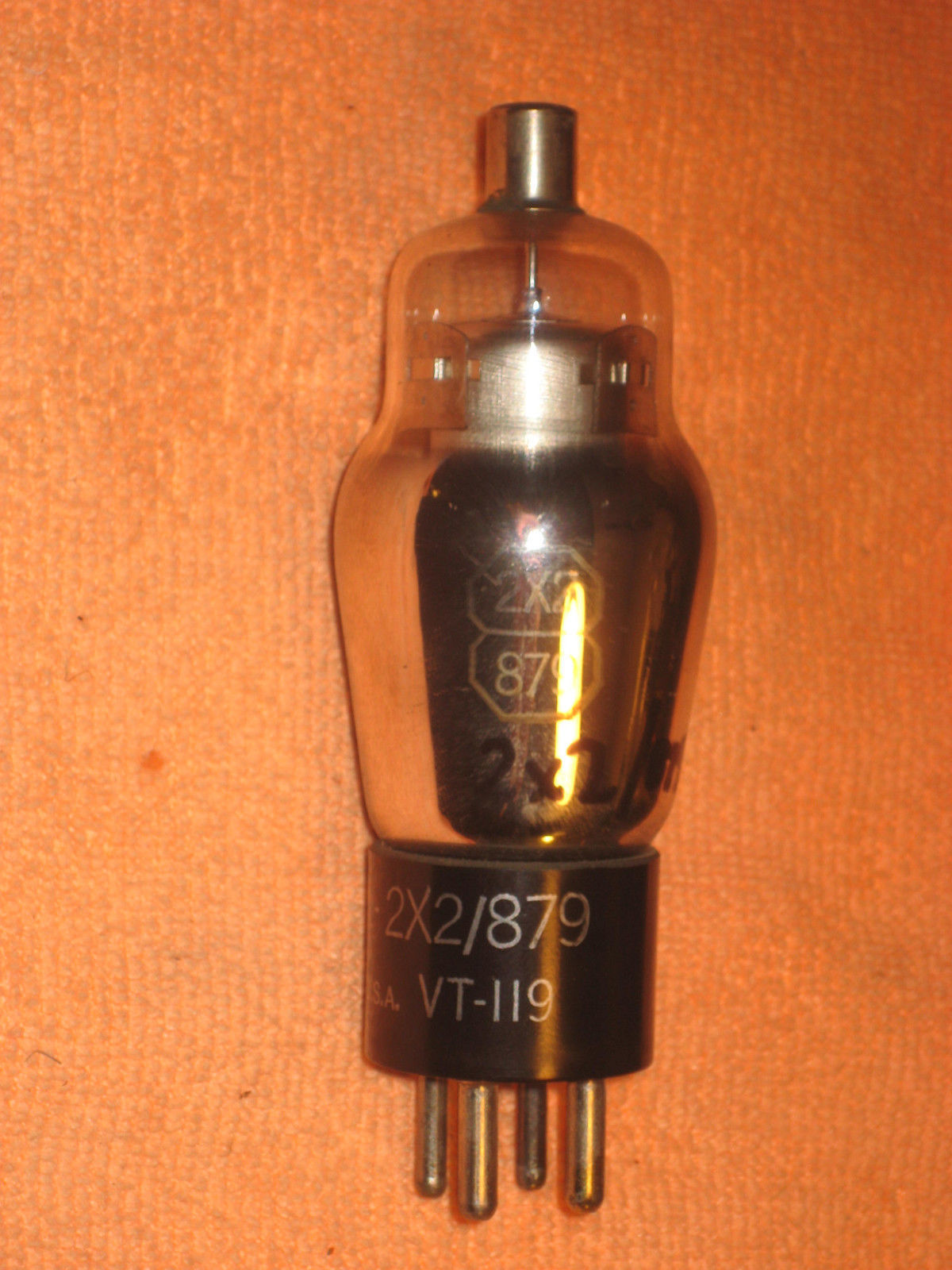 Vintage Radio Vacuum Tube (one): 2X2 / 879 - Tested Good