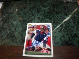 SANDY ALOMAR JR HAND SIGNED 1992 UPPER DECK BASEBALL CARD INDIANS - $9.50