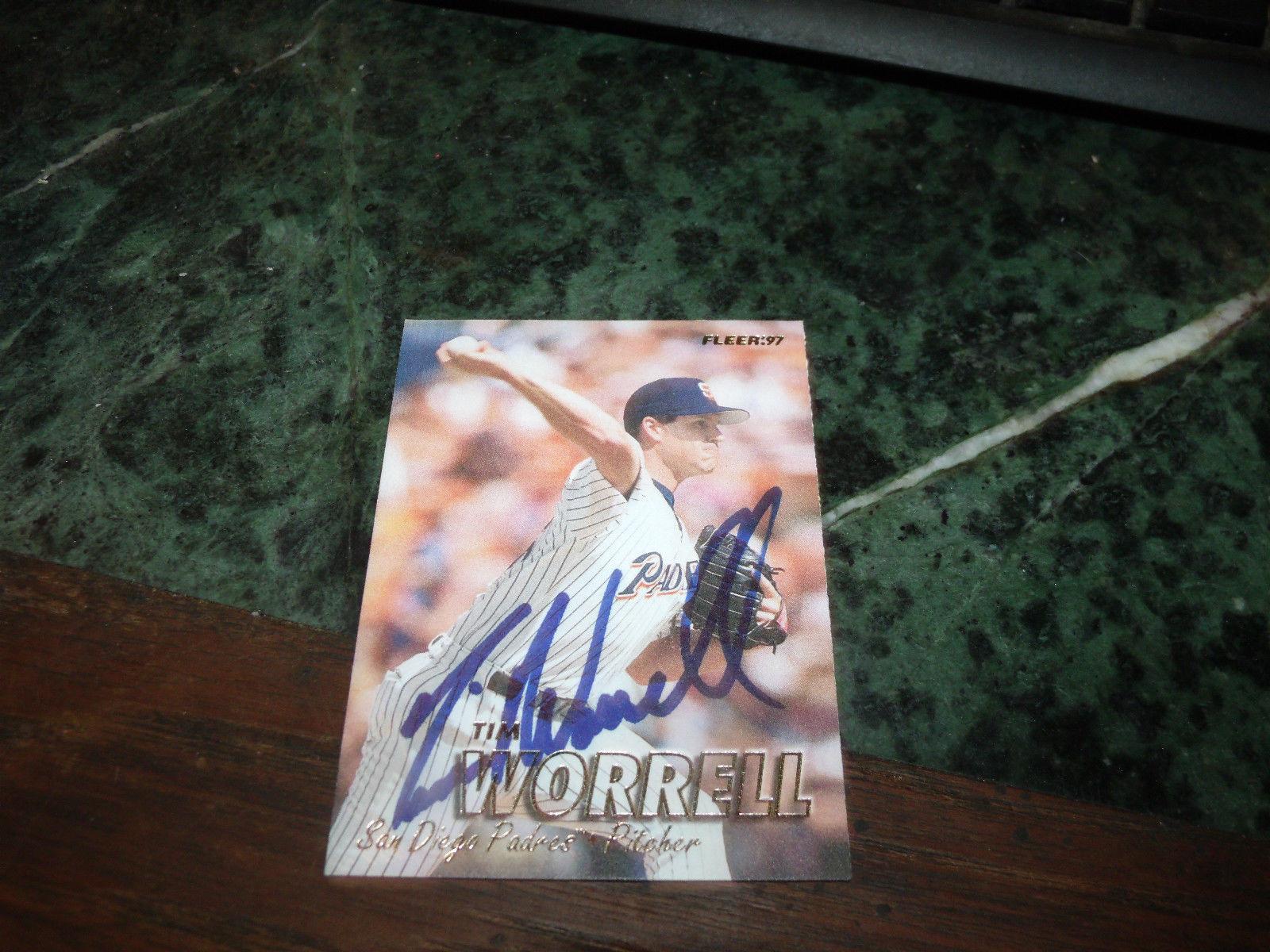 TIM WORRELL HAND SIGNED 1997 FLEER  BASEBALL CARD PADRES