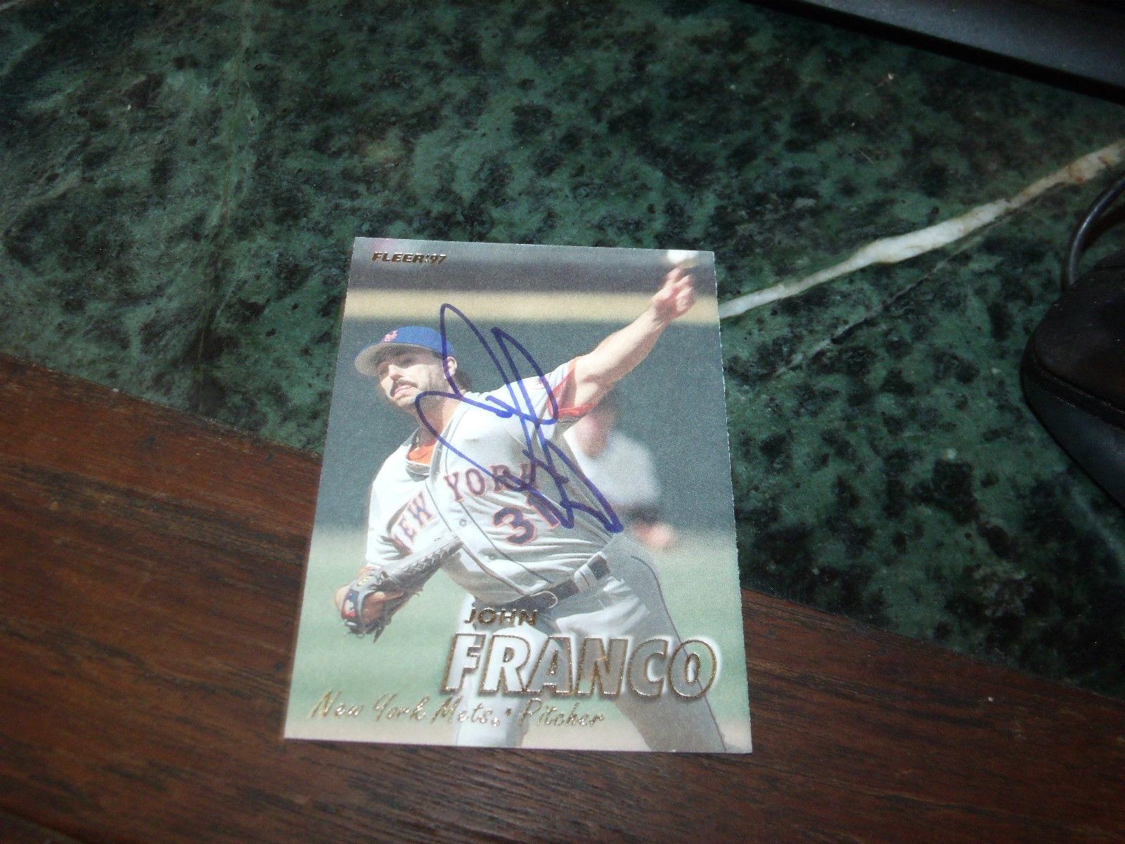 JOHN FRANCO HAND SIGNED 1997 FLEER BASEBALL CARD METS