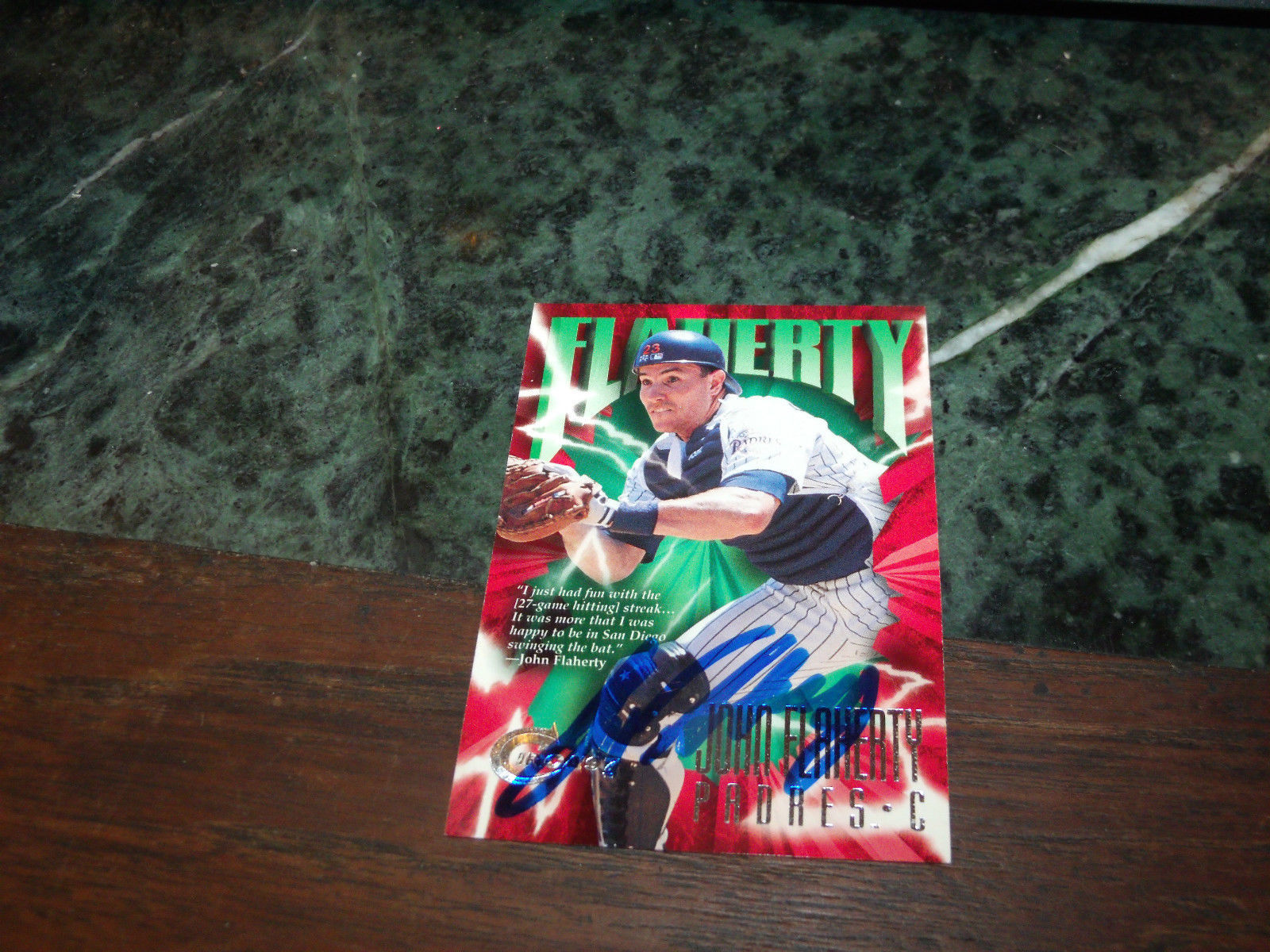 JOHN FLAHERTY HAND SIGNED 1997 FLEER CIRCA  BASEBALL CARD PADRES