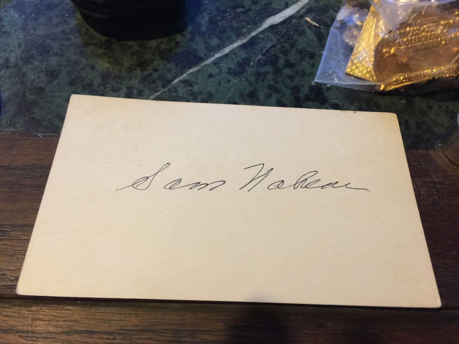 SAM NAHEM HAND SIGNED INDEX CARD DODGERS BASEBALL