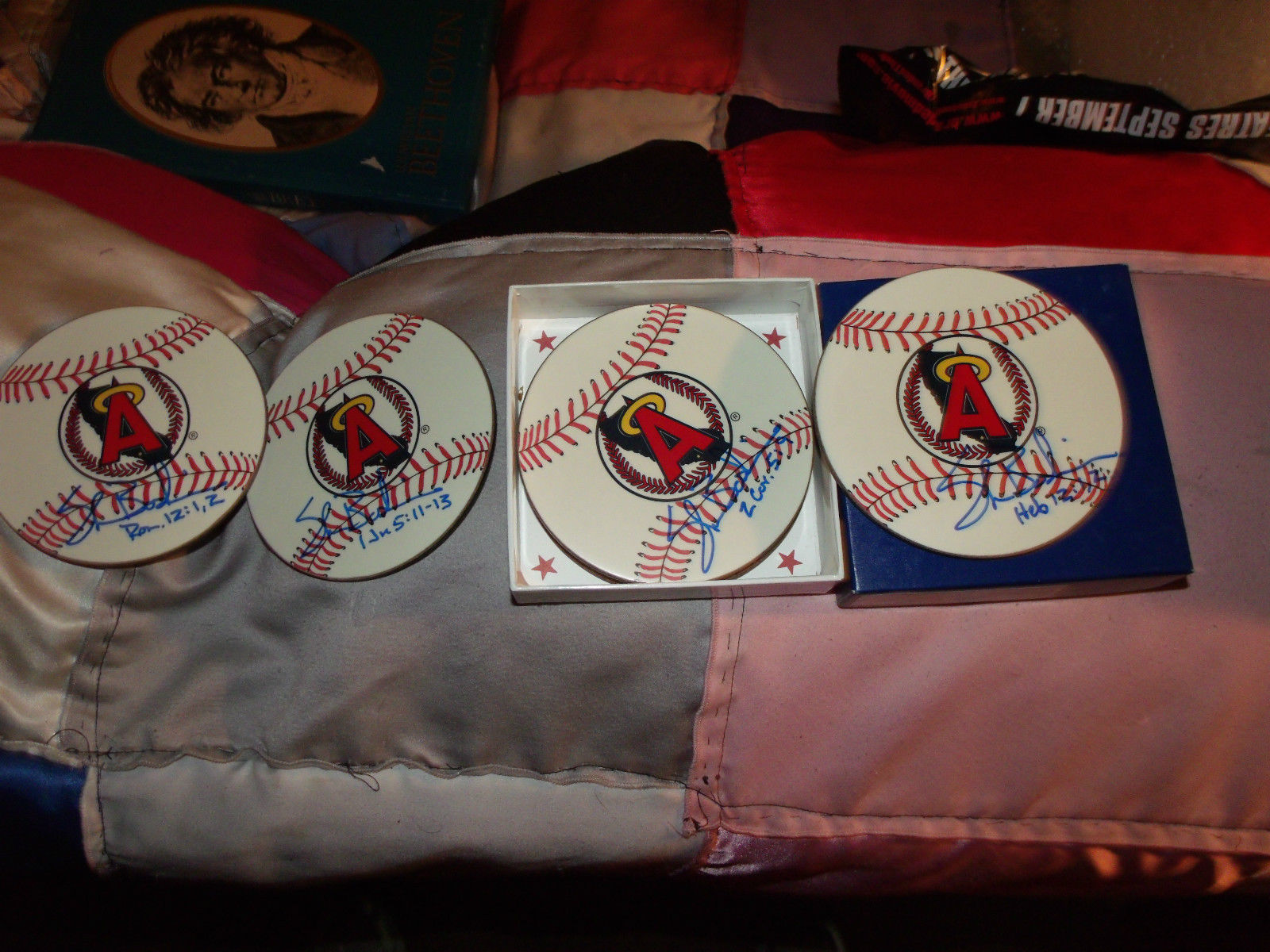 ANGELS BASEBALL COASTER SET OF 6 HAND SIGNED BY SHAWN BOSKIE