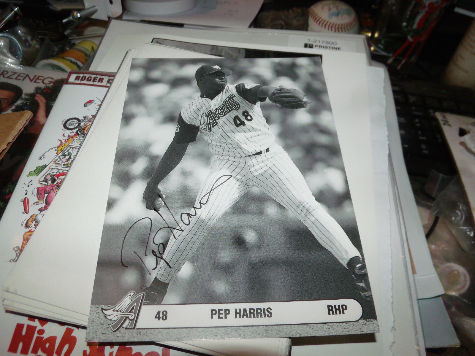 PEP HARRIS HAND SIGNED 5X7 PHOTO CARD ANGELS BASEBALL