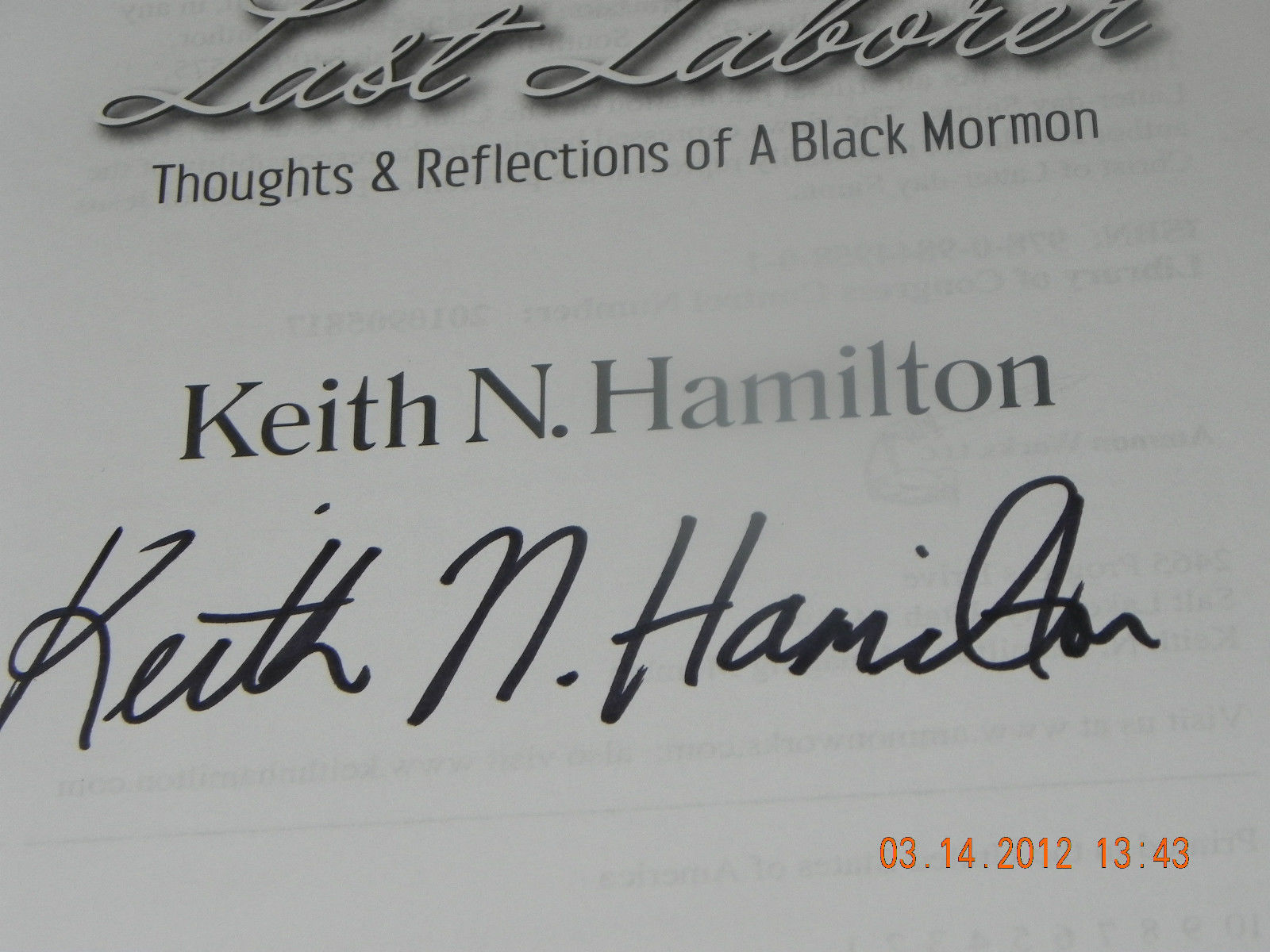 THOUGHTS & REFLECTIONS OF A BLACK MORMON SIGNED BY KEITH N HAMILTON 1ST/1ST