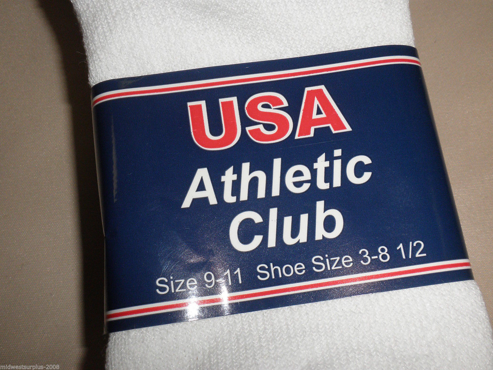 """USA Athletic Club White """"T"""" Ankle Socks Size: 9-11 Pack Of 3 Pair"""