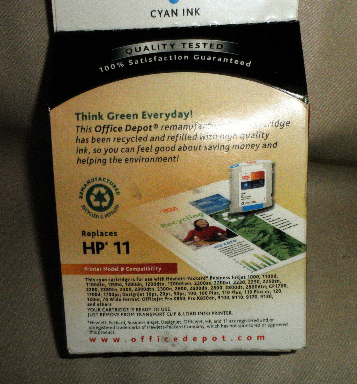 Office Depot Remanufactured Ink Cartridge Replaces HP11 Cyan Ink #330-650