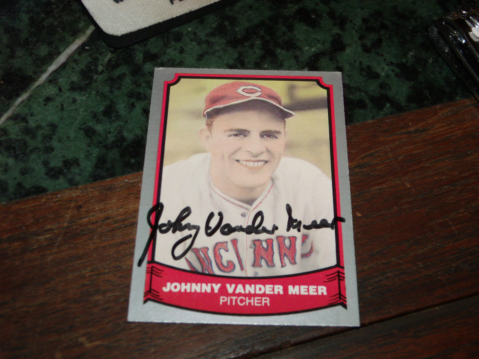 JOHNNY VANDER MEER SIGNED 1988 PACIFIC BASEBALL CARD REDS