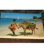 CHARLIE W/ SHOWGIRL JAMAICA RPPC UNUSED POSTCARD 1960'S DECKLE EDGE - $8.60
