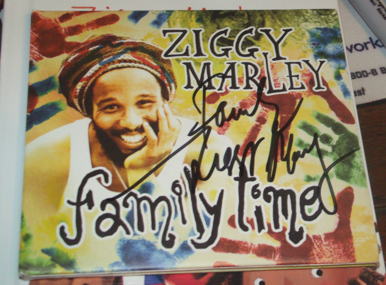 FAMILY TIME SIGNED BY ZIGGY MARLEY 3X CD HOLDER & BOOKLET & POSTER