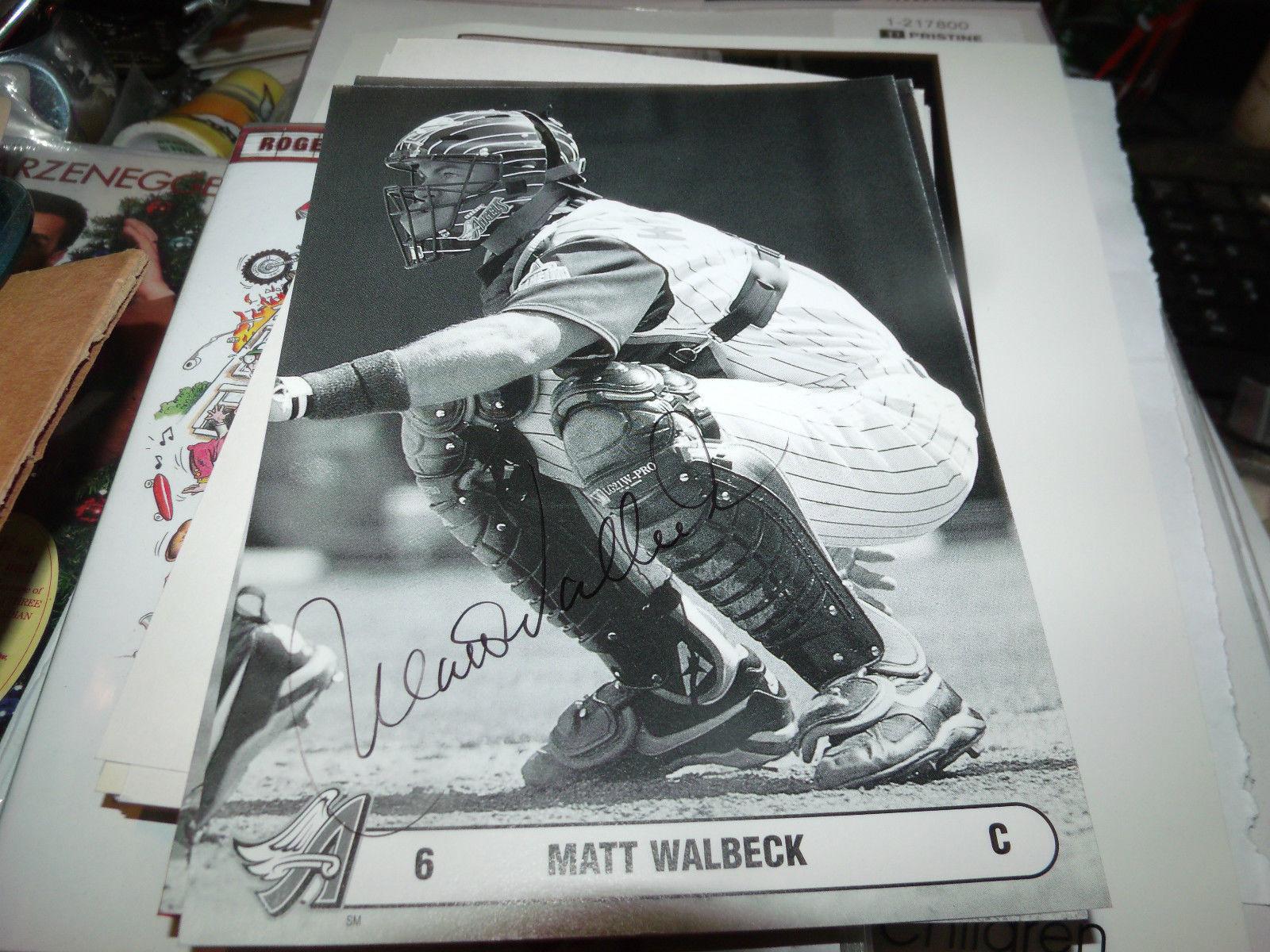 MATT WALBECK HAND SIGNED 5X7 PHOTO CARD ANGELS BASEBALL