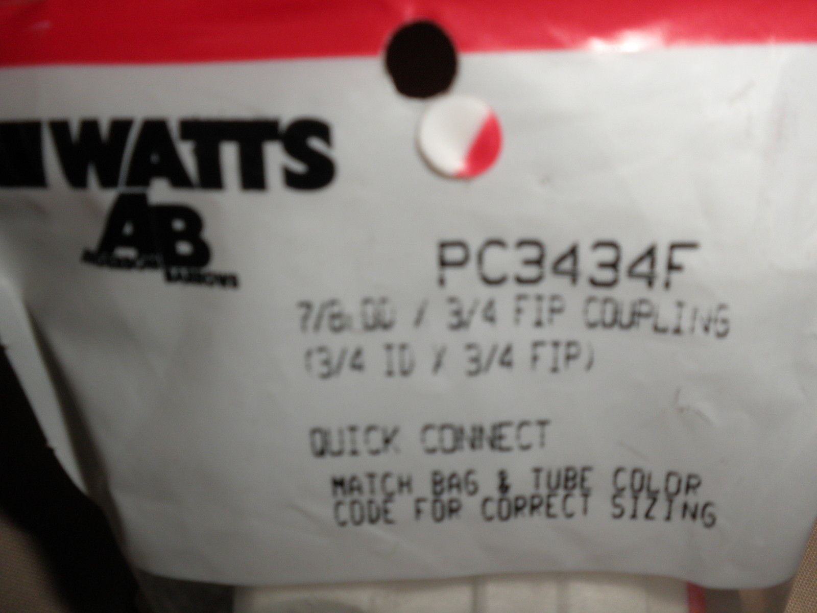 Watts AB PC3434F  7/8 OD X 3/4 FIP ( 3/4 ID X 3/4 FIP ) Coupling Quick Connect