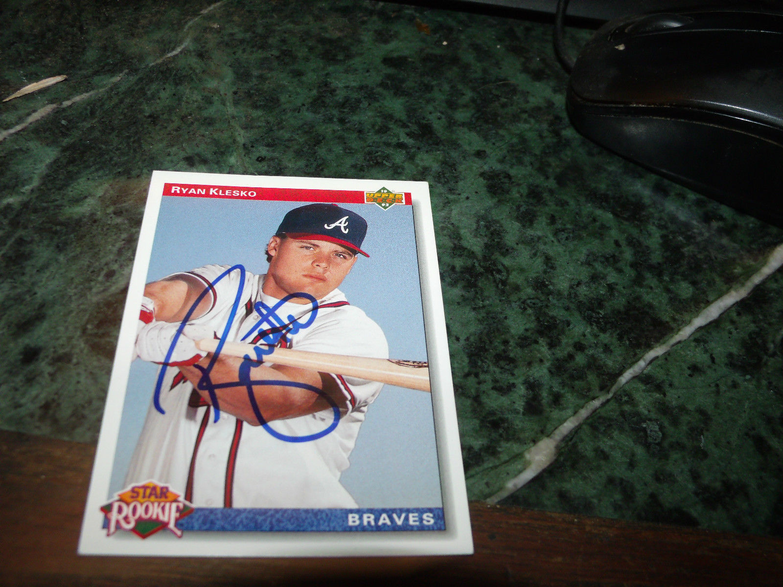 RYAN KLESKO HAND SIGNED 1991 UPPER DECK BASEBALL CARD BRAVES