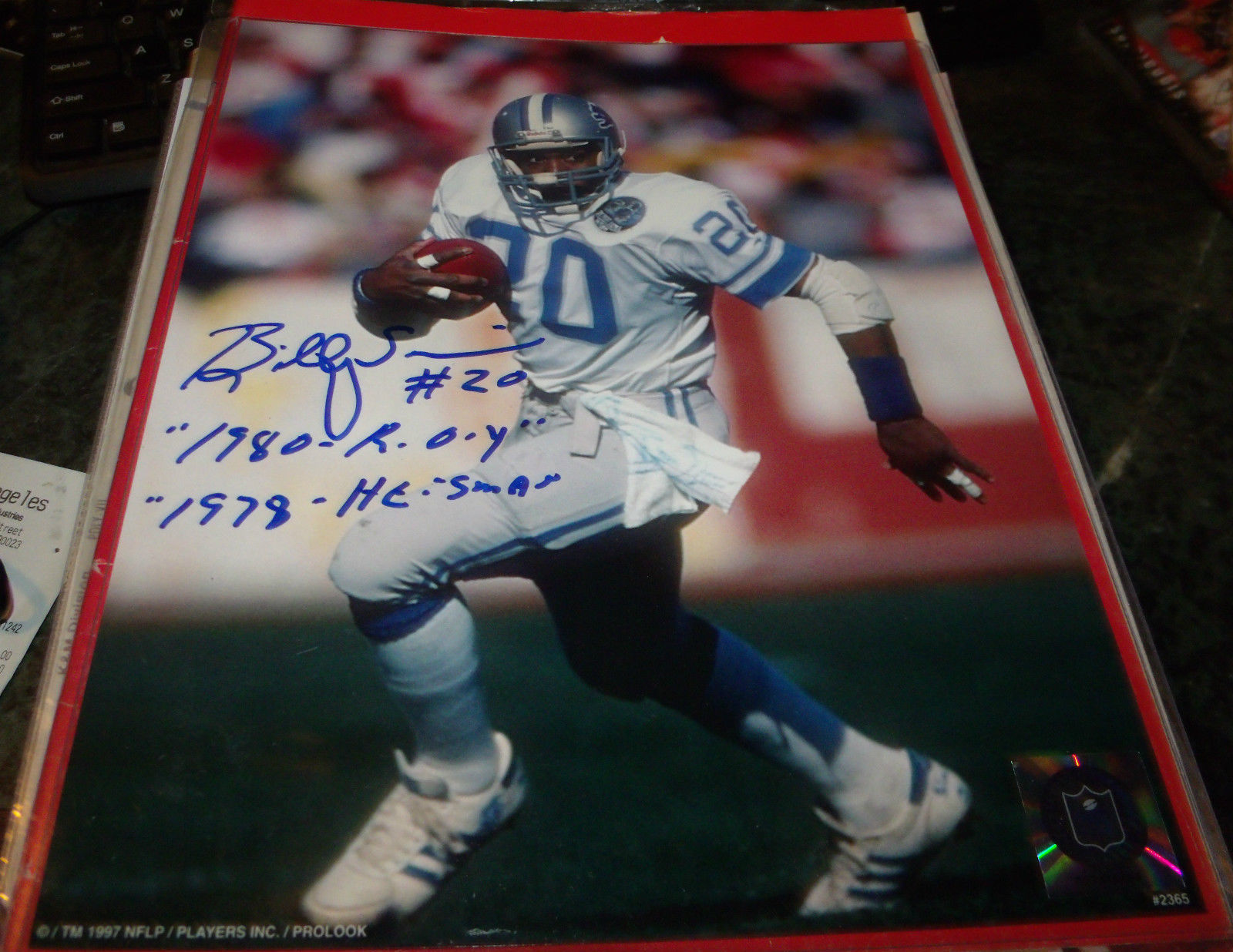 BILLY SIMS HAND SIGNED 8X10 PHOTO LIONS FOOTBALL