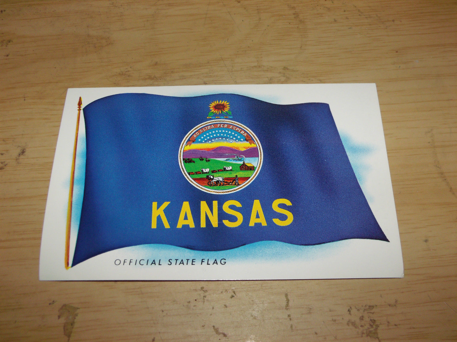 KANSAS OFFICIAL STATE FLAG VINTAGE UNUSED POSTCARD