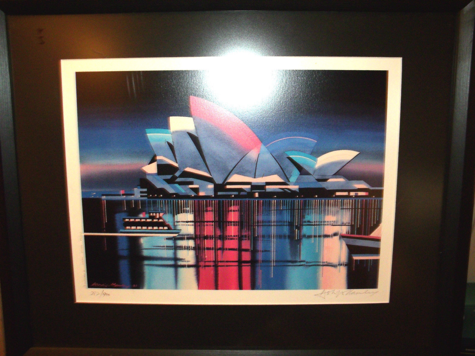 OPERA HOUSE NEON BY ASHLEIGH MANLEY LIMITED EDITION LITHOGRAPH FRAMED 18.5X22.5