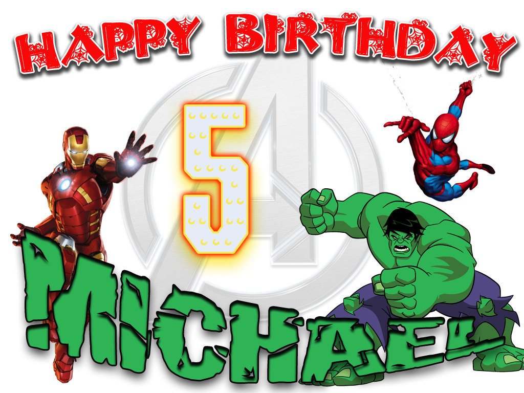 Personalized Birthday T-shirt *NEW* The Avengers Hulk Iron Man Spider-man Party for sale  USA