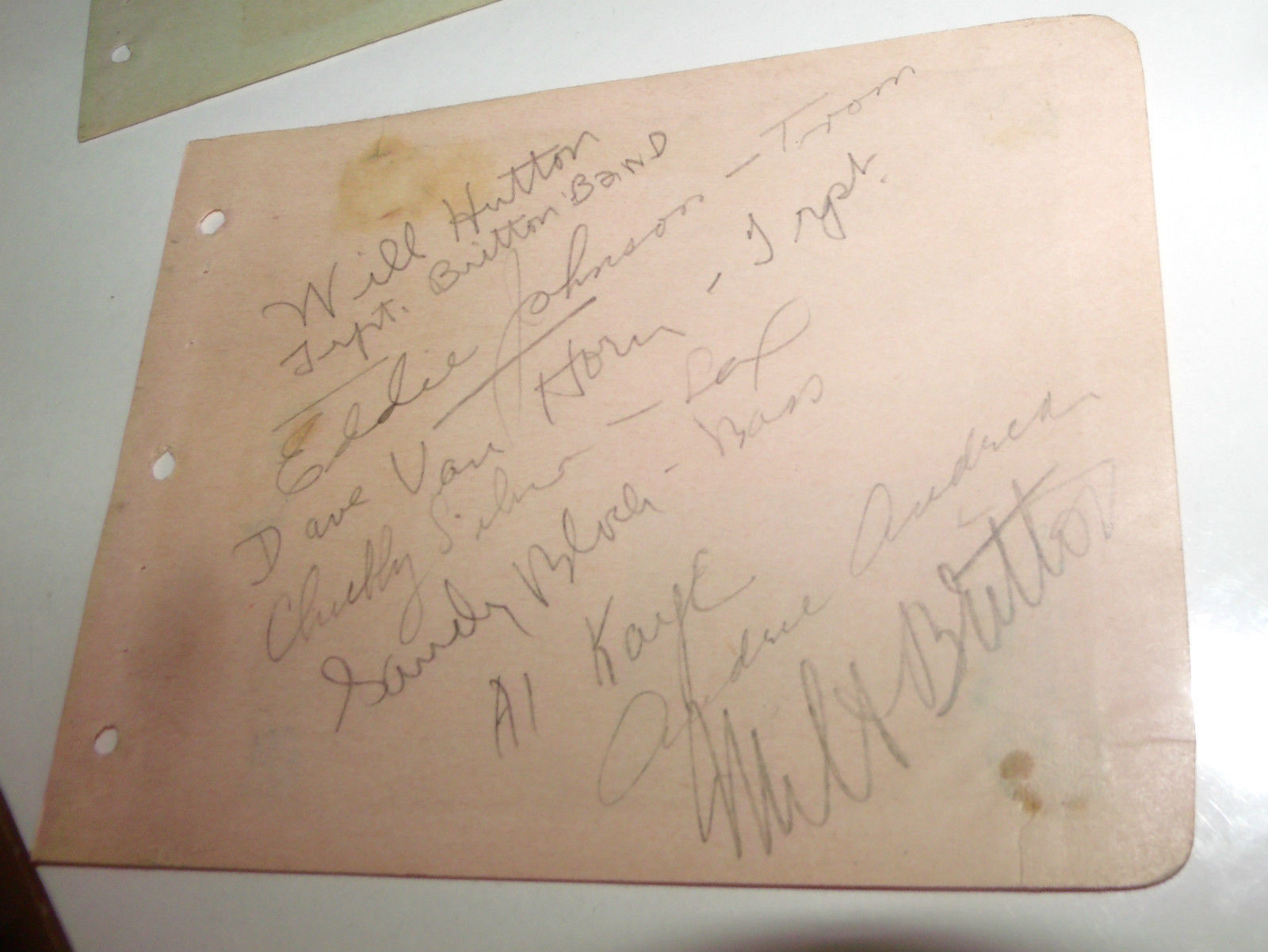 MILT BRITTON BAND HAND SIGNED 8X AUTOGRAPH BOOK PAGE