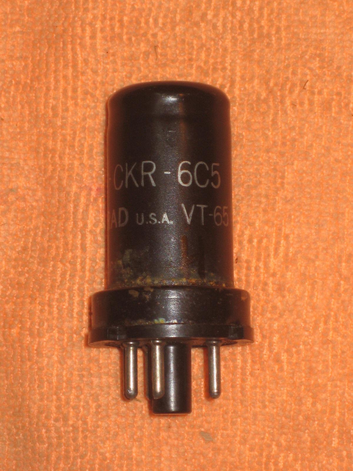 Vintage Radio Vacuum Tube (one): 6C5 Metal - Tested Good