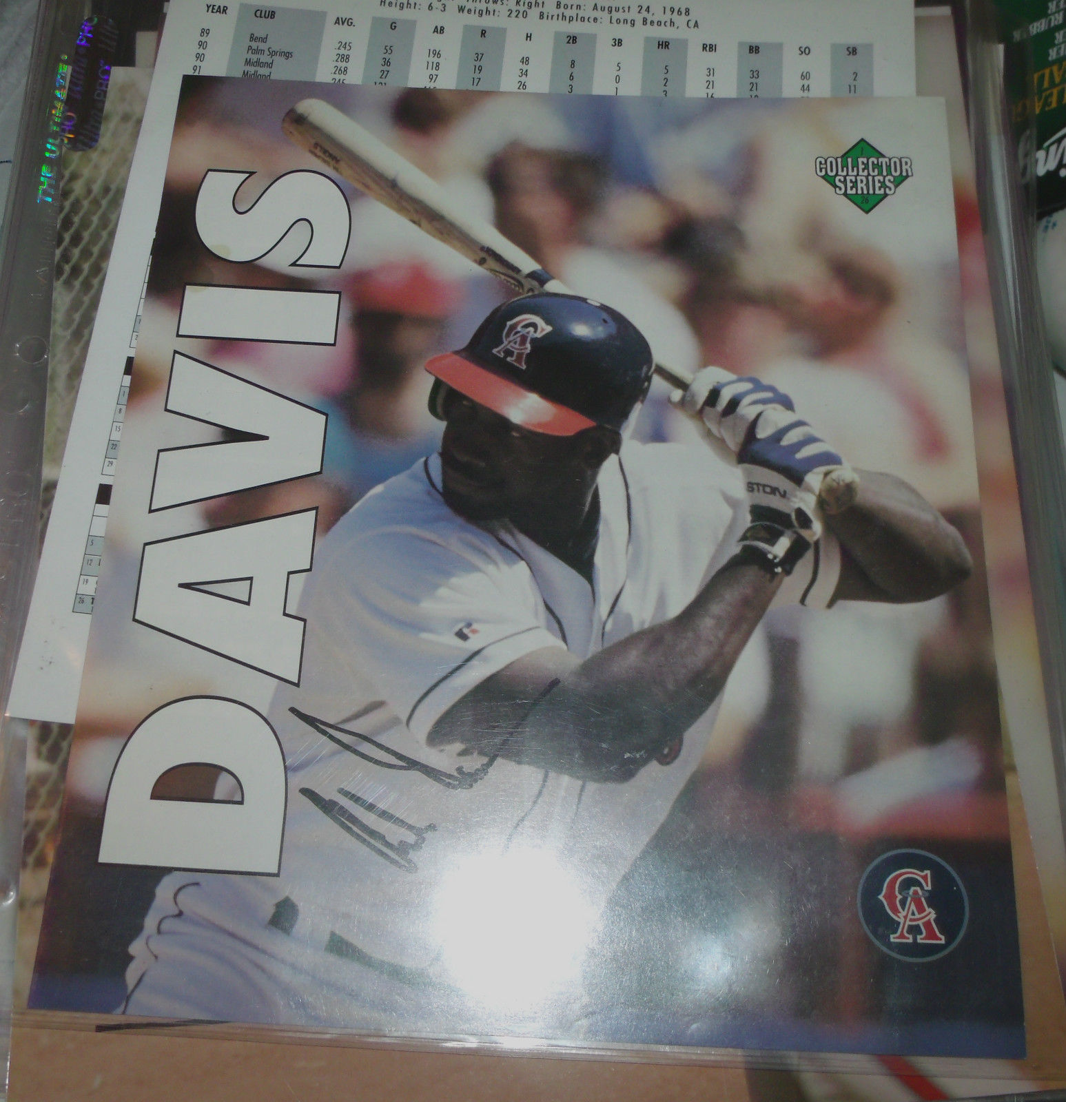 CHILI DAVIS HAND SIGNED 7X9 PHOTO ANGELS BASEBALL