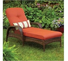 Outdoor Wicker Patio Furniture Daybed Chaise Garden Lounger Cushion Pool... - $345.51