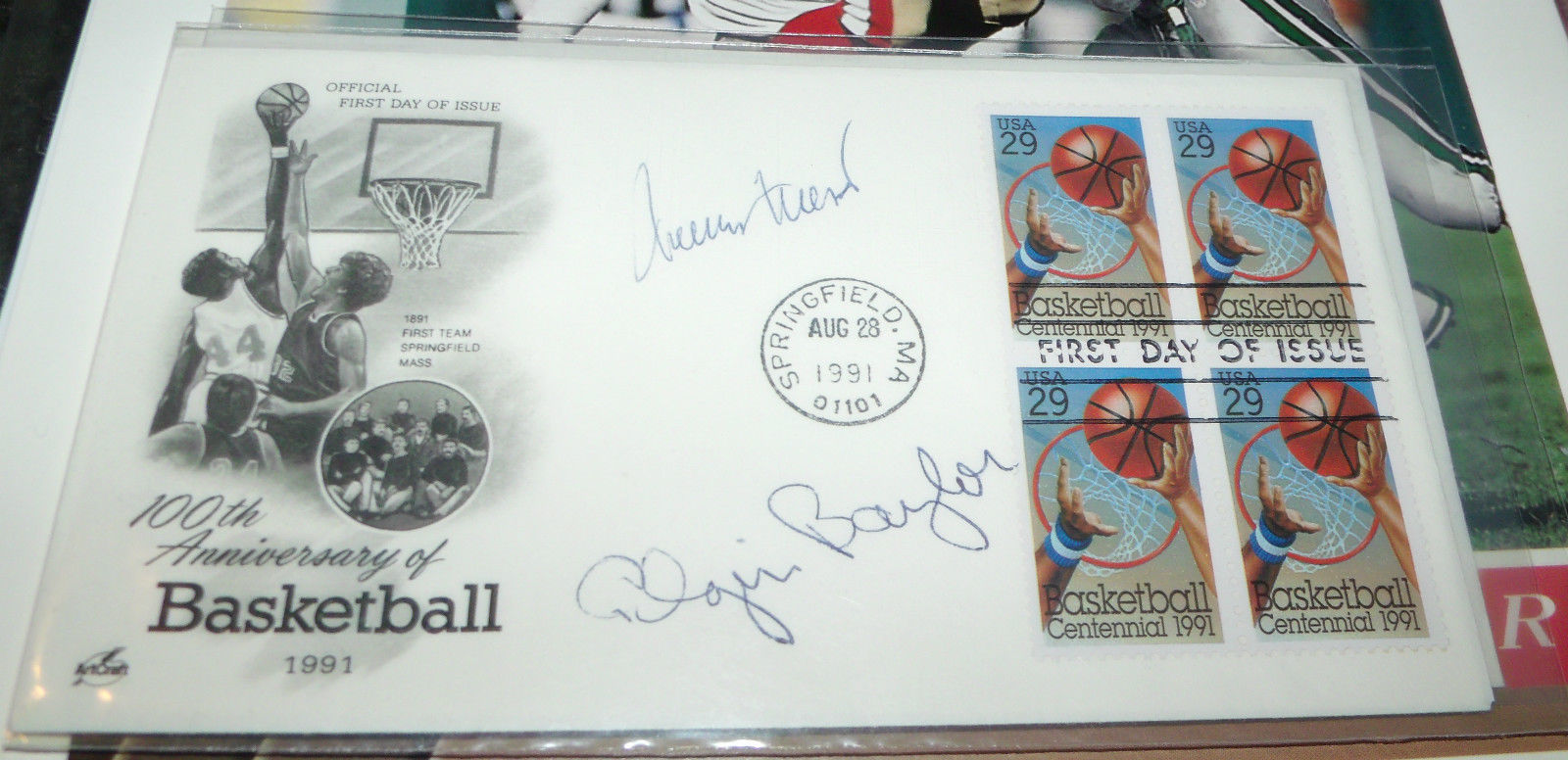 JERRY WEST & ELGIN BAYLOR HAND SIGNED FDC FIRST DAY COVER 100TH BASKETBALL