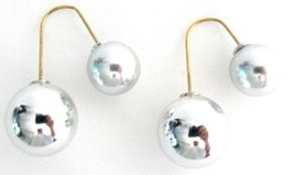 Silver Double Sided Ball Earrings Dangling Parallel - $8.18