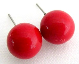 Stunning Red Round Ball Bead Stud Earrings - $5.58