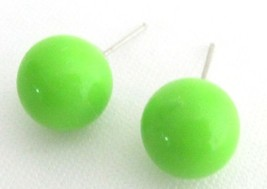 Candy Stud Earrings Round Bead Peridot Green Bead Stud Earrings - $5.58