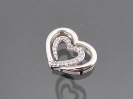 Vintage 14K Solid White Gold Genuine Diamond Heart Charm Pendant - $145.00