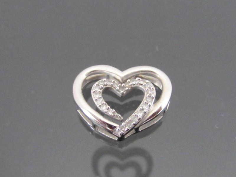 Vintage 14K Solid White Gold Genuine Diamond Heart Charm Pendant