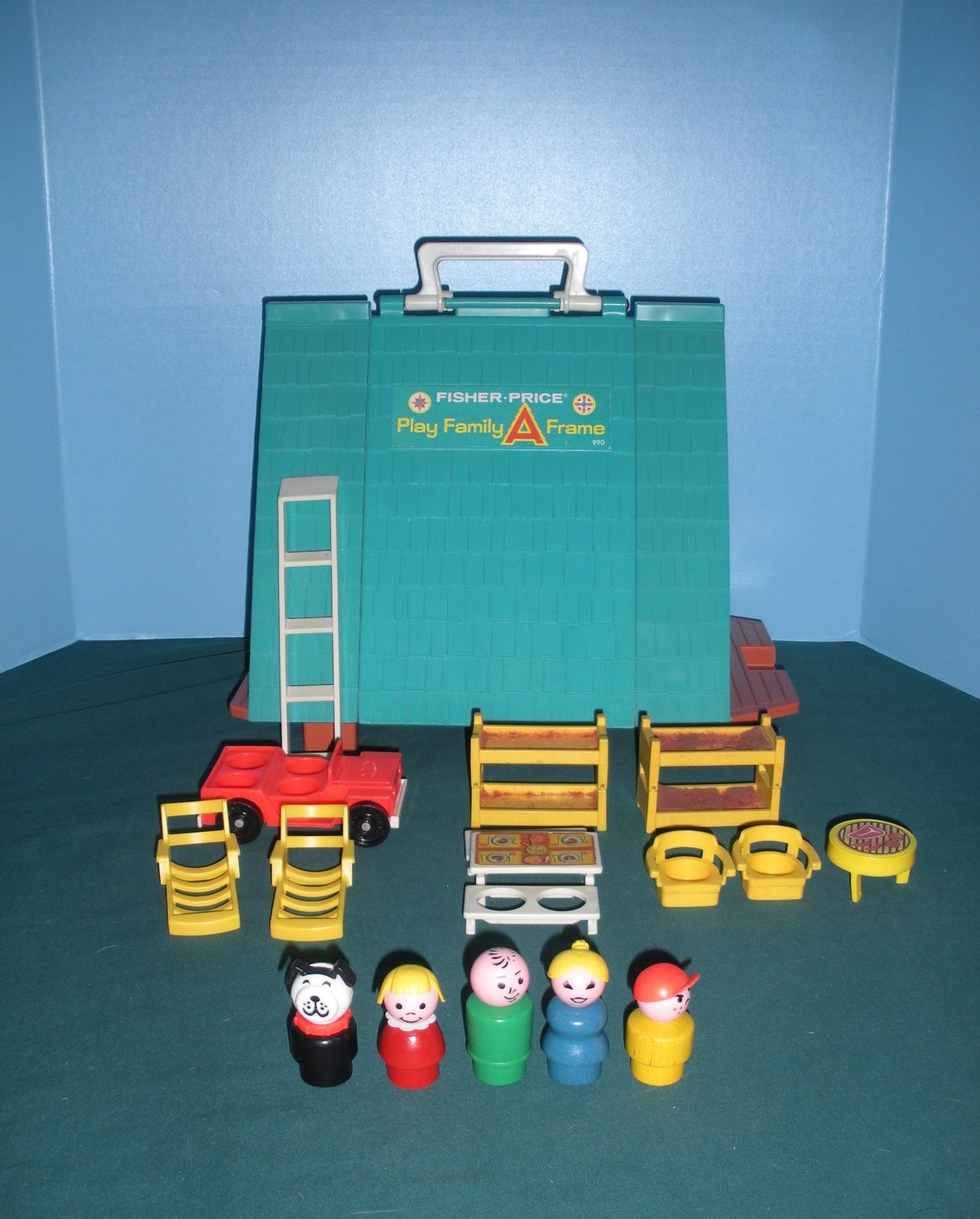 Vintage Fisher Price #990 Play Family A-Frame Comp. w/Wooden LP/EXC++-NEAR MT!