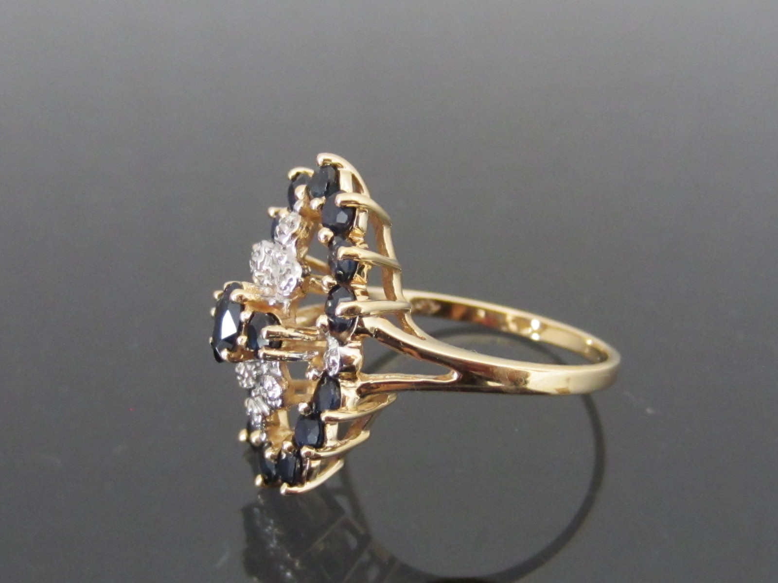 Vintage 14K Solid YG 1.11ct Genuine Ceylon Blue Sapphire & Diamond Ring Size 8.2