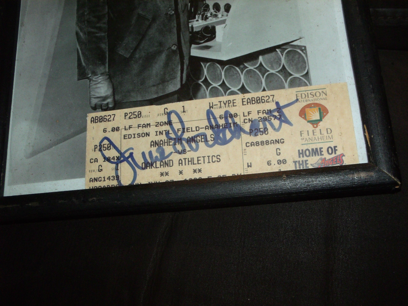 """JUNE   LOCKHART  (""""LASSIE/""""LOST  IN  SPACE"""") SIGNED ANGELS TICKET W/ PHOTO"""