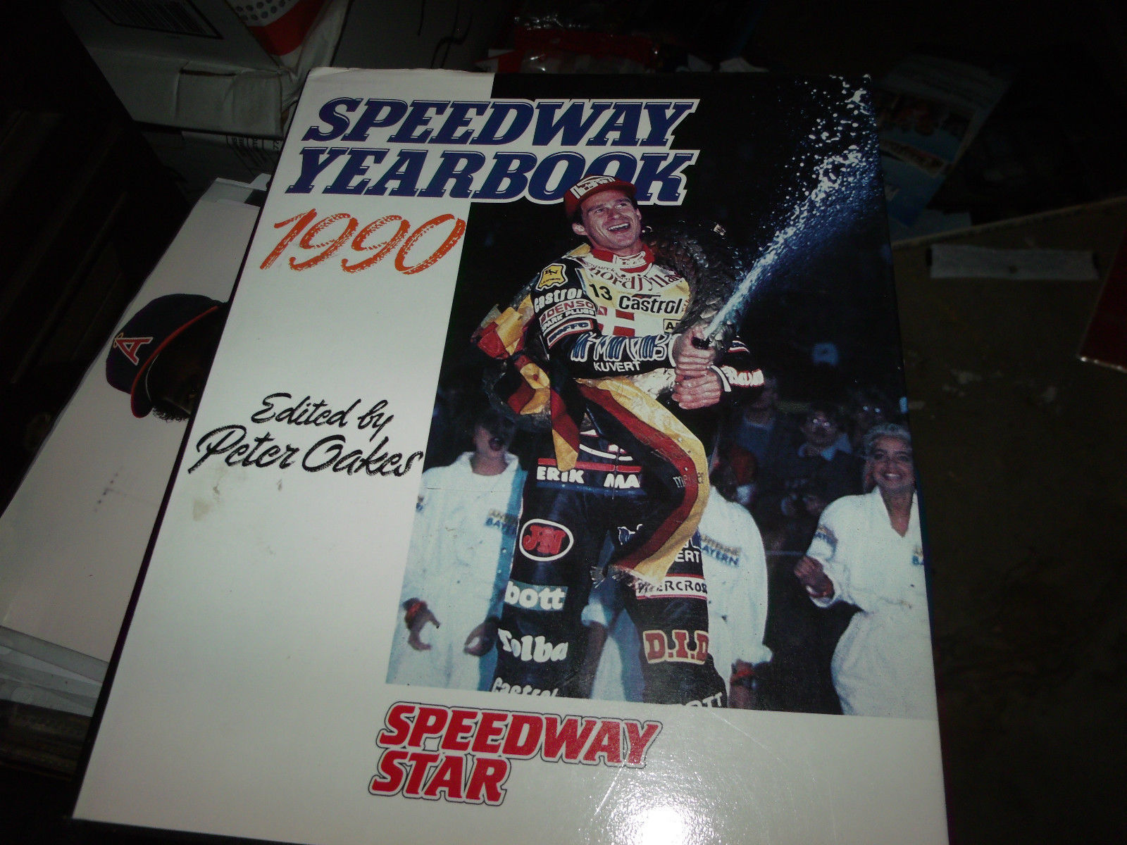 SPEEDWAY YEARBOOK 1990 SIGNED BY PETER OAKES HARDCOVER UK