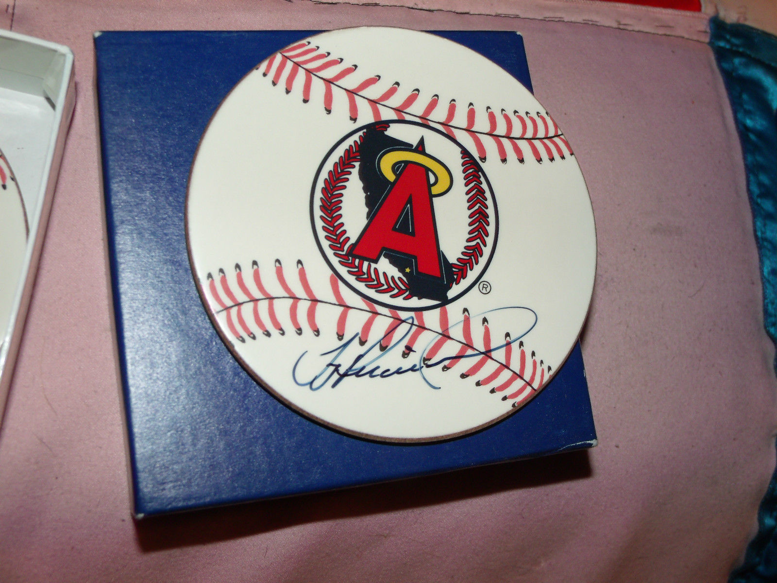 ANGELS BASEBALL COASTER SET OF 6 HAND SIGNED BY TROY PERCIVAL