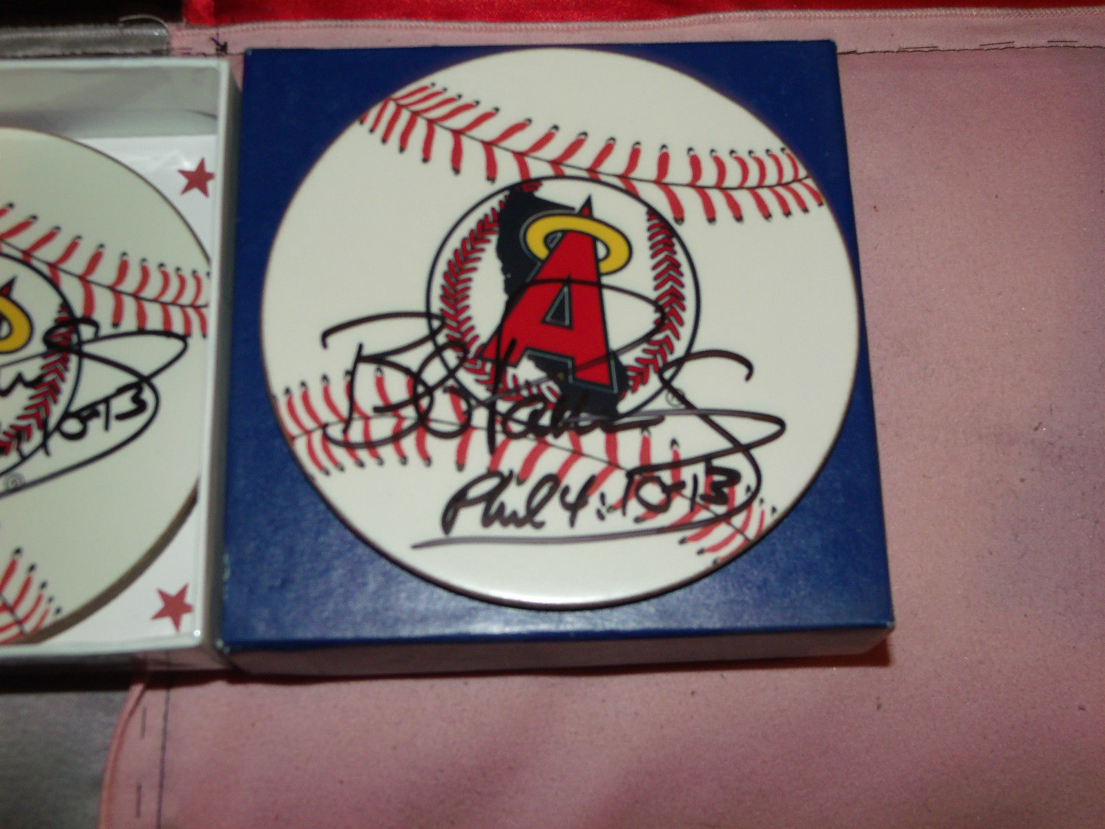 ANGELS BASEBALL COASTER SET OF 6 HAND SIGNED BY BOB PATTERSON