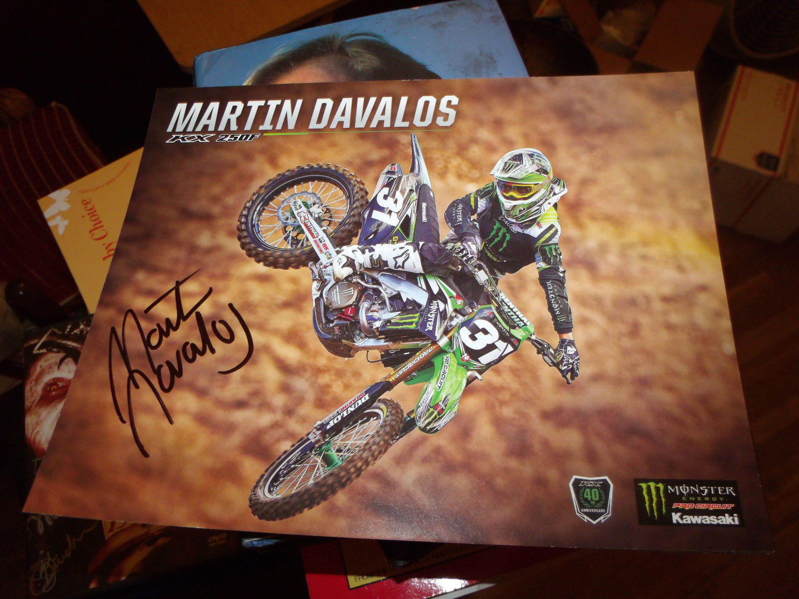 MARTIN DAVALOS HAND SIGNED 8X10 KAWASAKI PHOTO CARD
