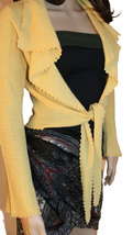 Laundry by Shelli Segal Saffron Yellow Tie-Front Cashmere Cardigan Sweater - $159.00