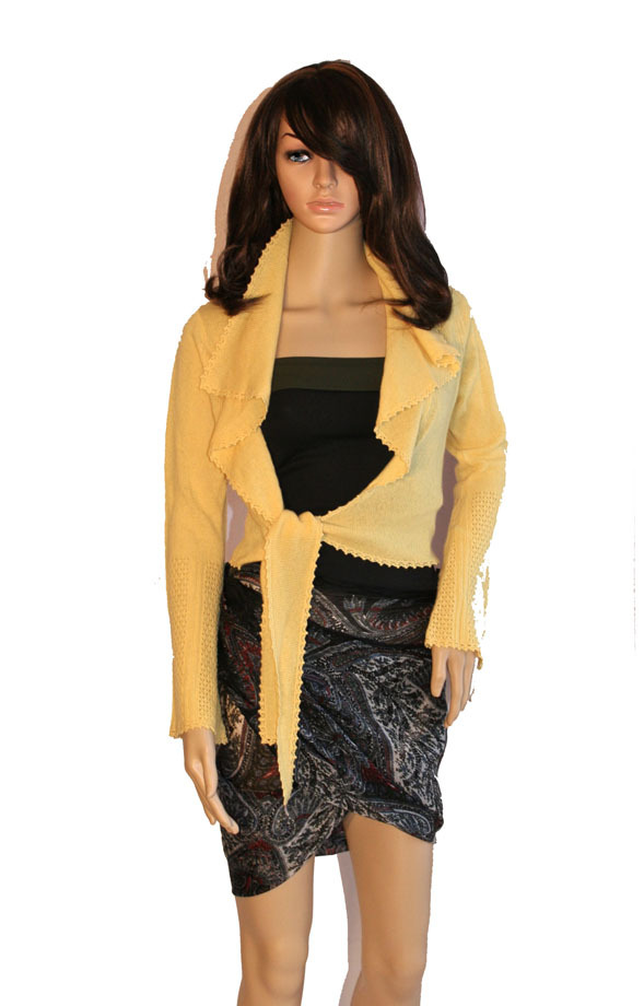 Laundry by Shelli Segal Saffron Yellow Tie-Front Cashmere Cardigan Sweater