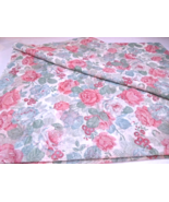 SemiSheer Fabric -Floral Dusty Mauve Mint Green,Champagne on Antique Whi... - $9.49