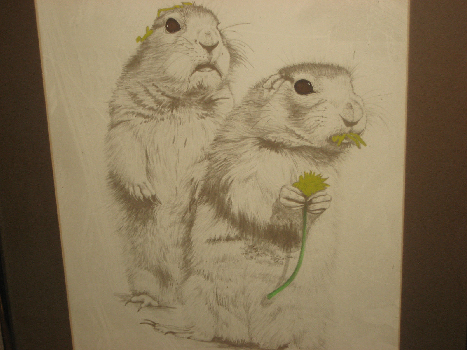 PRAIRIE DOGS BY LINDA MATUSICH SIGNED #'D FRAMED LITHOGRAPH