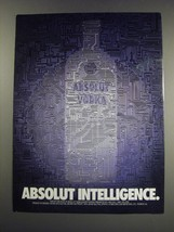 1991 Absolut Vodka Ad - Absolut Intelligence - $14.99