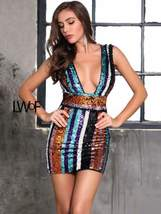Deep V Neck Backless Striped Sequin Bodycon Dress - $64.99+
