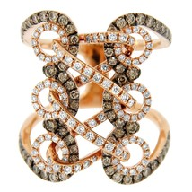 1.50CT DIAMOND 18K ROSE GOLD LACED UP RING SIZE 7 - £1,253.80 GBP