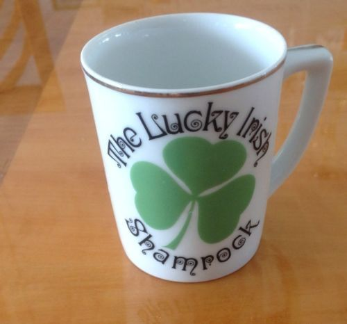 VTG Porcelain Cup The Lucky Irish Shamrock Cup Gold Leaf Made in Japan