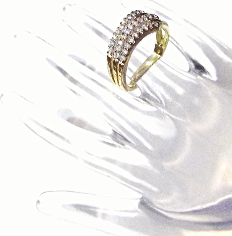 14K Yellow Gold Diamond Round Band Ring, Size 7, 0.60(TCW), I1-I2 / H-I, 3.8 GR
