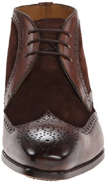 Men's brown brogue ankle suede and leather Chukka boots, Men dress leather boots
