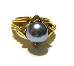 Gray Round Freshwater Pearl & White Zircon Ring... - $25.00